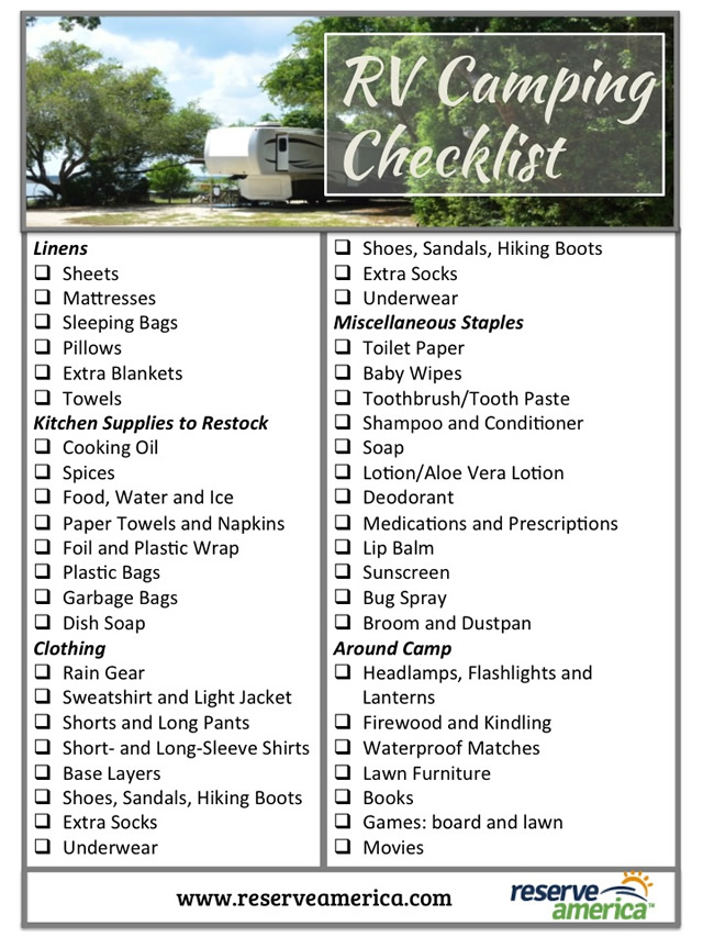 Handy image throughout rv camping checklist printable