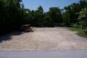 Photo: Buttonwood: Large, gravel, partially shaded campsite with picnic table and grill, bordered by a wood fence and surrounded by bushes.