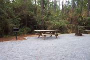 View of a picnic table and fire ring.