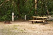 This view is of the brown metal ground grill, wooden picnic table, gray electrical box and PVC water spigot supported by a wooden post. Cabbage Palms and Royal Palms shade this site. Soil is tan with sparse green grass.