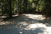 Shaded gravel campsite with picnic table.