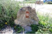 Large rock with metal sign with campsite number 15 on it located to the left. Vegetation behind rock.