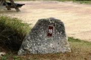 Large rock with metal sign with campsite number 19 on it located to the left of the site. Ground cover and low vegetation around rock.
