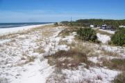 This is a panoramic view of the beach and its majestic dunes at St. Joseph Peninsula State Park.