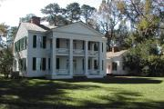 Front view of the Gregory plantation house, a civil war era plantation home overlooking the Apalachicola River.
