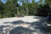 View of a picnic table, fire ring, and clothesline poles in partial shade.