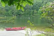 Trout Pond - Canoe on boat ramp at Rockcliff Lake