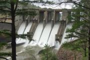 View of Nimrod Dam from River Road Park group picnic shelter.