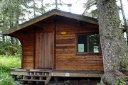 Frontal view of Harrison Lagoon Cabin