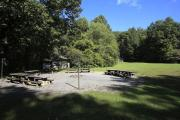 Photo: COVE CREEK LOWER GROUP CAMP FIRE RING AND PICNIC TABLES